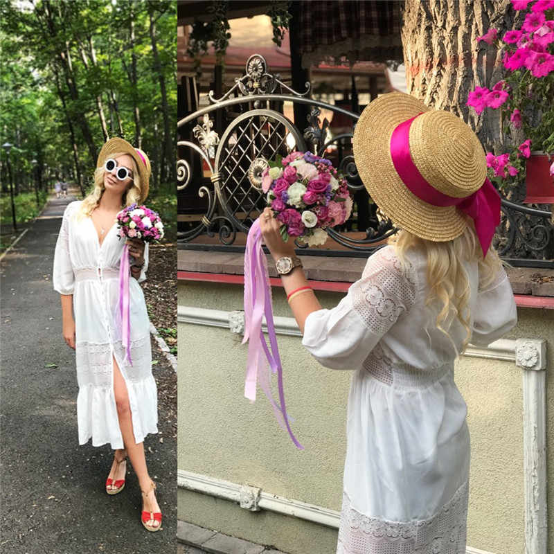 beac011cf5263 Ladies Dresses 2019 Elegant Long White Lace Sundress Sexy Front Open Deep V  Neck Ruffle Maxi Dress Summer Women Beach Tunic N561
