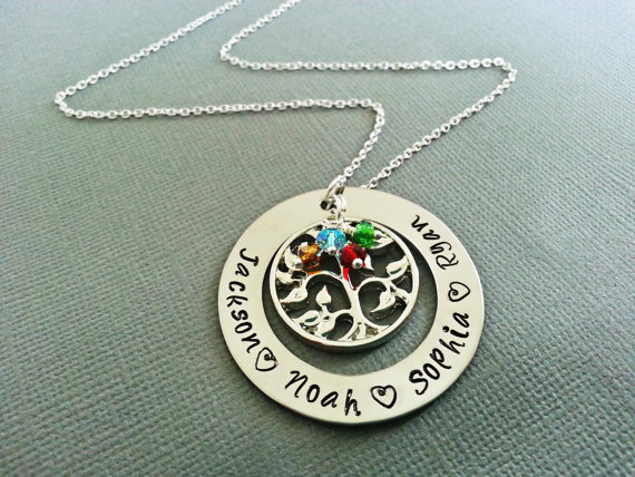 2016 trendy new elegant stamped tree of life necklace personalized
