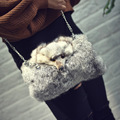 Fashion Handbags 2016 Genuine Fur Women Bag Cute Fox  Causal Clutch Purse Small Chain Crossbody Purse Bolsos Mujer chain warm