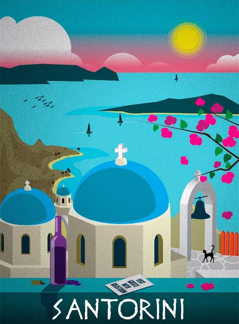 pop santorini grecia vacaciones viajes vintage retro kraft cartel decorativo de diy wall sticker home bar