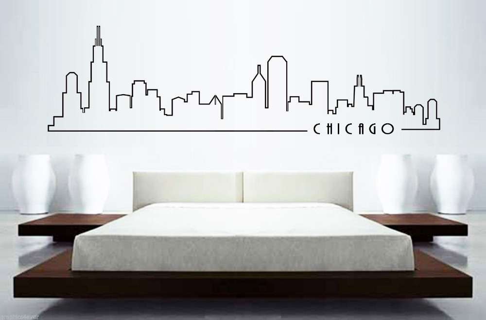 Chicago Skyline Mural Wall Sticker Home Decor Building Art Bedroom Car Decal Decoration In Stickers From