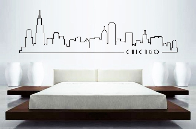 Wonderful CHICAGO SKYLINE Mural Wall Sticker Home Decor Skyline Building Mural Art  Wall Sticker Bedroom Car Wall Decal Home Decoration Part 23