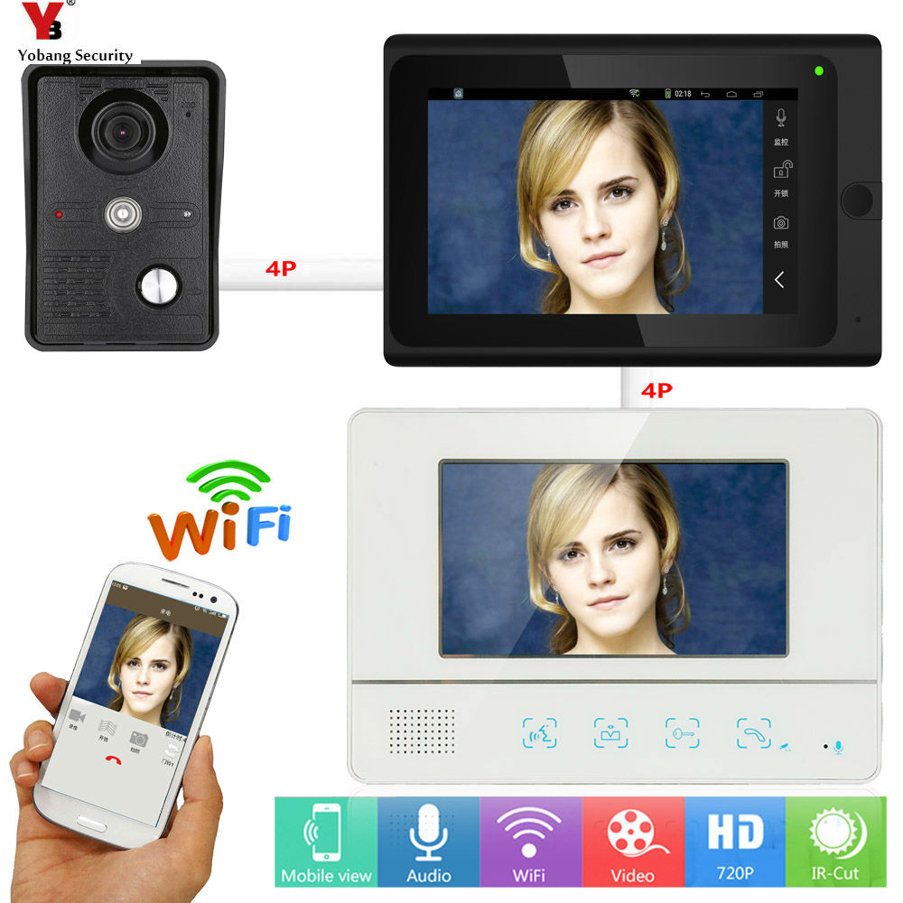Yobang Security WIFI Video Door Phone Intercom For Home Security 7 Inch Monitor APP Remote Control Video Doorbell Camera System