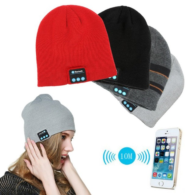 25466cba4 US $6.59 22% OFF|Men Women Winter Red Black Soft Warm Beanies Hat Wireless  Bluetooth Smart Cap Headset Headphone Speaker Mic Bluetooth Hat-in Skullies  ...