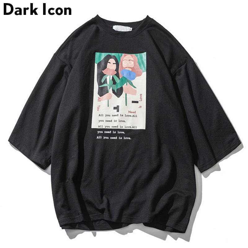 DARK ICON All You Need Is Love Loose Style Men's Tshirt 3 Quater Sleeve 2019 Spring O-neck High Street T-shirt Men Tee Shirts