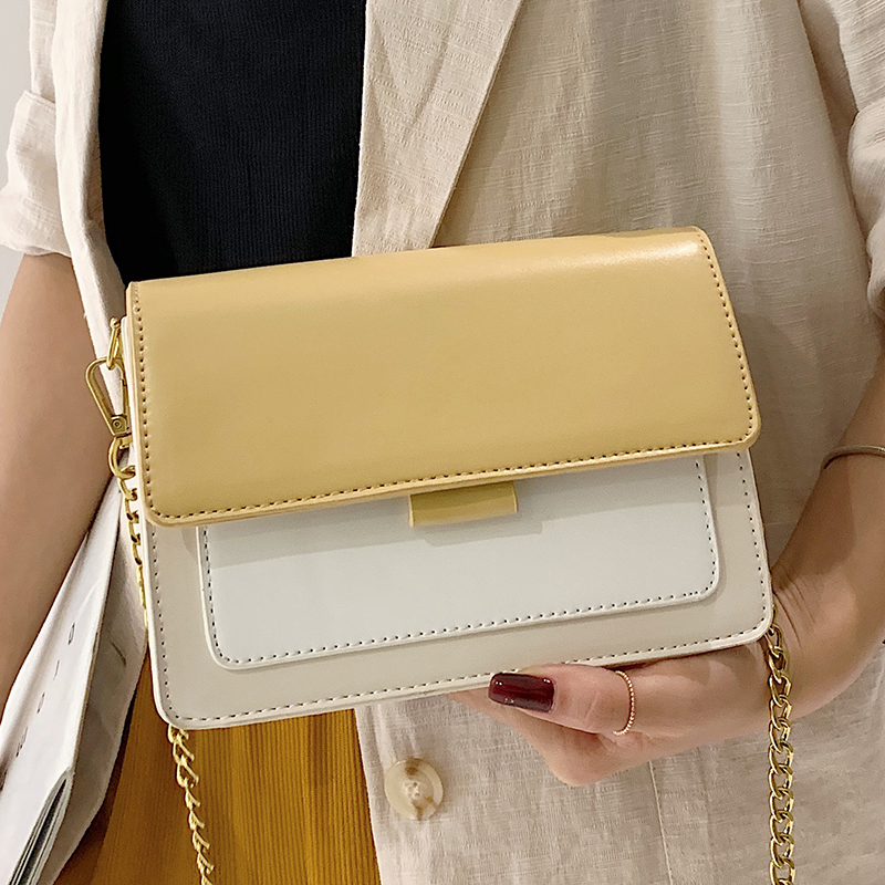 World Brand Contrast color Leather Crossbody For Women Travel Handbag Fashion Simple Shoulder Messenger Bag Lady Crossbody Bag in Shoulder Bags from Luggage Bags