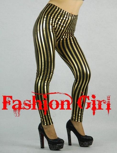 c10ccd8a1 Punk Fashion Gold Metallic Leggings Vertical Stripe Tights Black Gold  Silver Striped Pants Free Shipping Skinny Trousers 1407