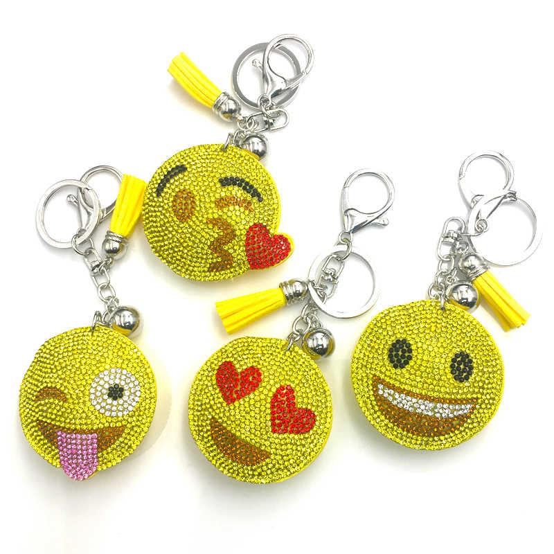 Симпатичный брелок со стразами, Хрустальный брелок, автомобильный брелок, Женское кольцо для ключей, Банг, смайлик, оптовая продажа, ювелирные изделия, подарки