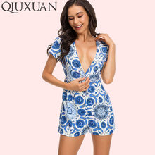 362c403a3b4 QIUXUAN Chinese National Style Blue and White Porcelain Shorts Rompers Sexy  Deep V-Neck Short Sleeve Women Casual Jumpsuits