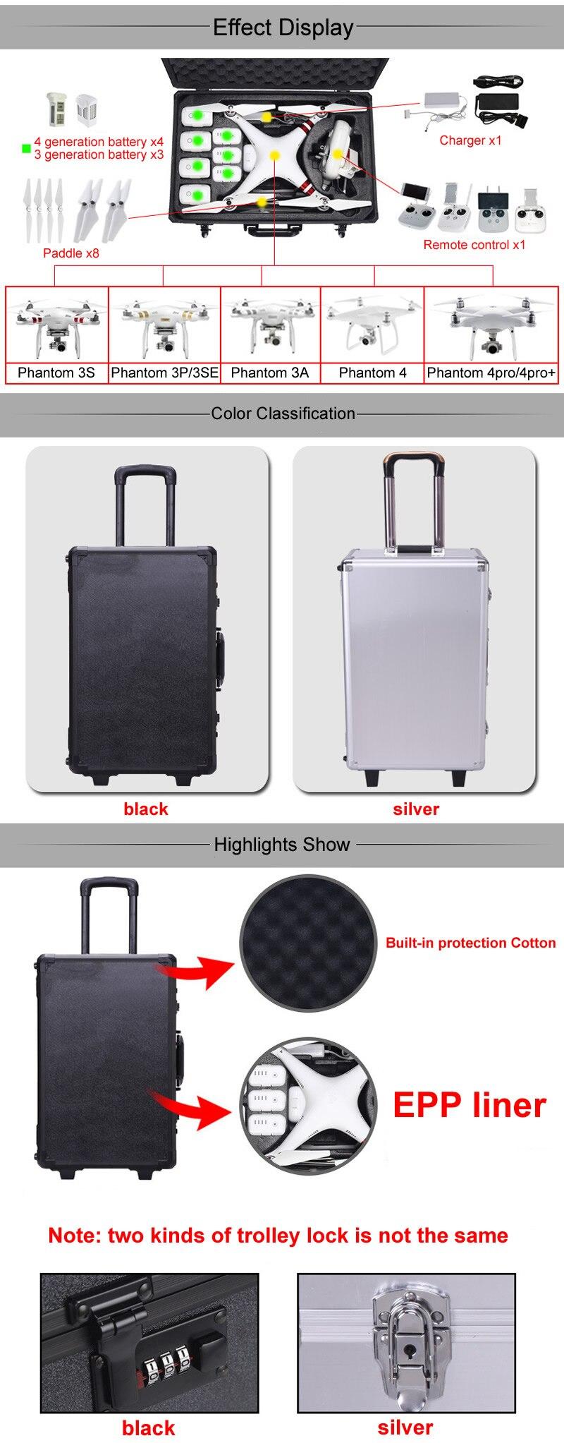 DJI Phantom 4 Drone Upscale Hard Shell Suitcase PHANTOM 3 Universal Standard Advanced Protection Quadcopter dji Trolley Case Box