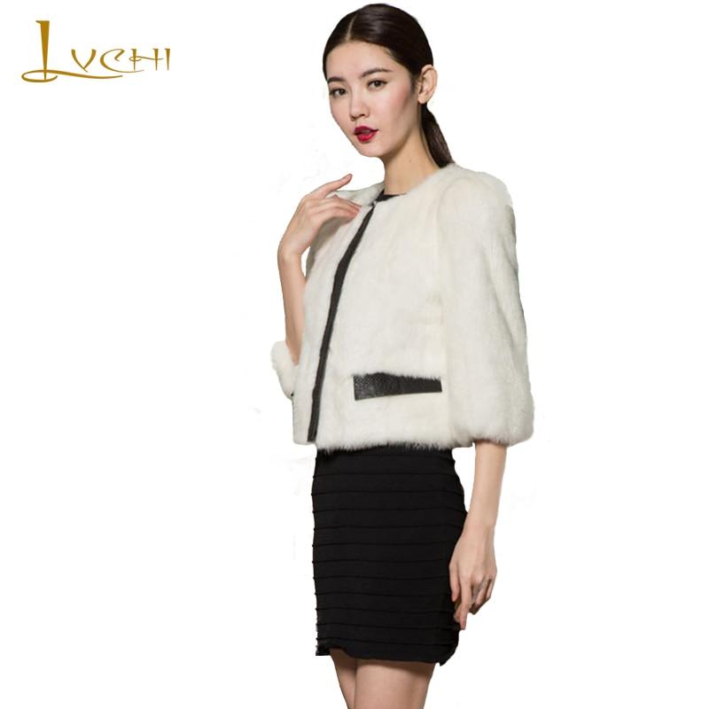 LVCHI zimní dámská kožichová srst 2019 kůže černá bílá móda krátký kabát střední kabáty střední kabát ulice Pink Street