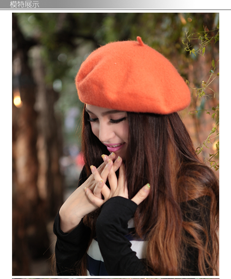 32 colors Hot Sale Fashion New Lady Womens Wool Blend Beret Beanie Winter Hat Ski Cap Gifts Artist Cap wholesale