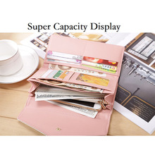 Купить с кэшбэком Brand Women Wallets Fashion colorful Ladies Purse PU Leather Female Long Money Bag Card Holders Card Organizer Cases Coin Pocket