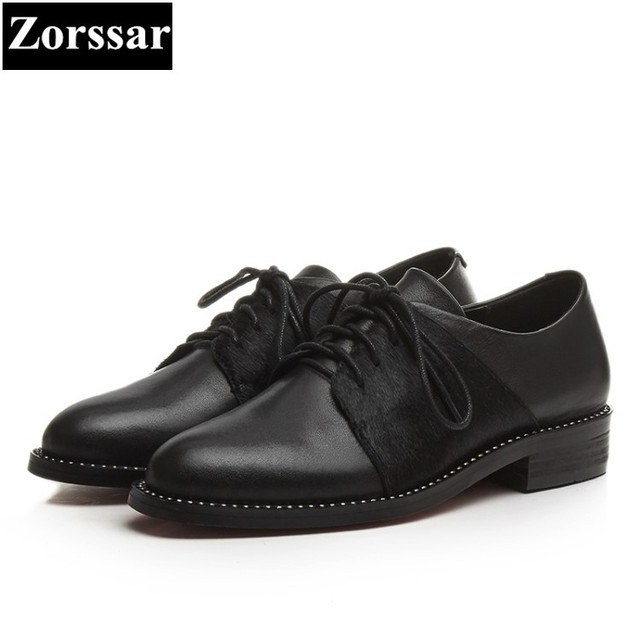 Zorssar  Women Shoes flat heel Fashion Real leather Horse hair round toe Women  flats dress shoes Casual Womens Oxford shoes d5de8c668179