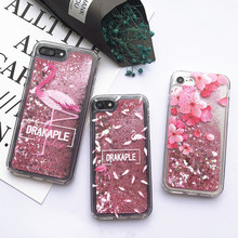For iPhone 8 Cute Pink Heart Liquid Phone Shell For iPhone 6 6S 7 8 Plus X XS XR MAX Cases Flamingo Pattern Quicksand Cover Capa