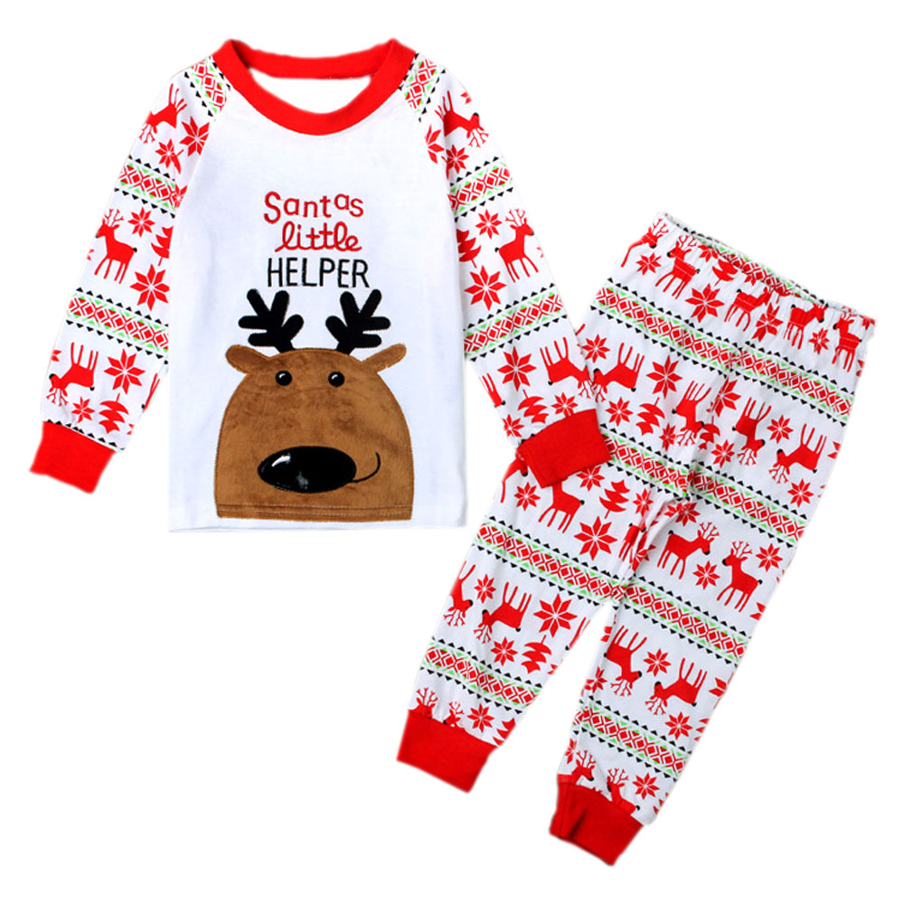 Santas Little Helper Christmas Baby Clothes Set Girl & Boy Deer Long Sleeve T-shirt Tops + Pants Loungewear Pajamas YM36TZ