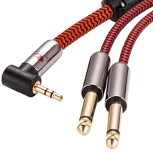 лучшая цена Audiophile Stereo 3.5mm  to Dual 6.35mm 1/4 Inch TRS Plug TV PC Phone Mixer Speaker Amplifier Cable Right Angle 75cm 1M 2M 3M 5M