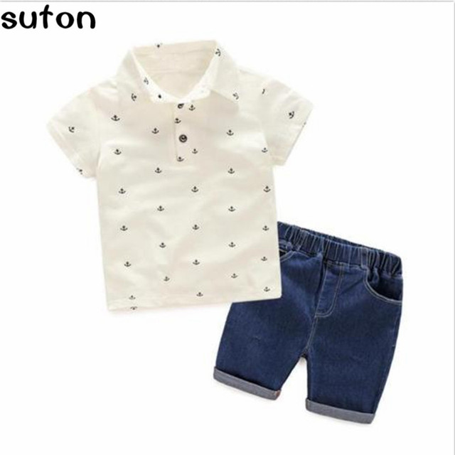 2017 New Fashion Baby Boys Clothes Sets Cotton T-shirt+Denium Shorts 2pc/Set Casual Children Clothes Sets 2-6 Years