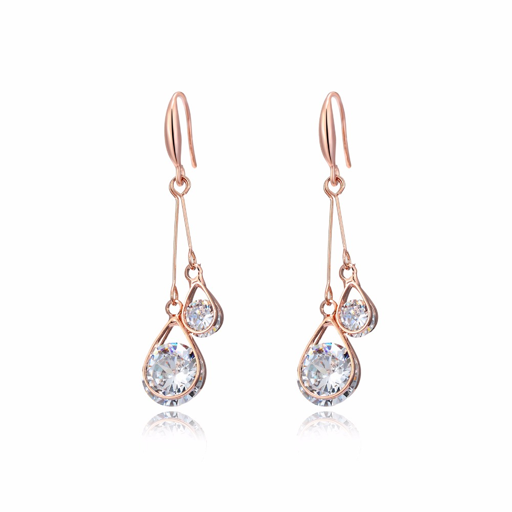 DROLE Fashion Smykker 2017 Lang Drop Dangle Earrings Rose Guld Farve Zircon Hollow Ball Vand Drop For Women Wedding Party