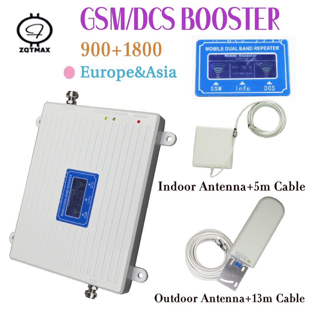 2G GSM 900MHz Moblie Phone Repeater 4G DCS LTE 1800MHz Cellular Amplifier 4G Set With Indoor Outdoor Antennas For Home