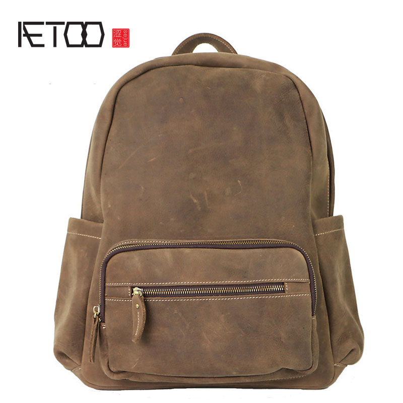 AETOO Europe and the United States the first layer of crazy horse skin large capacity retro leather shoulder wave tide men trave europe and the united states style first layer of leather lychee handbag fashion retro large capacity solid business travel bus