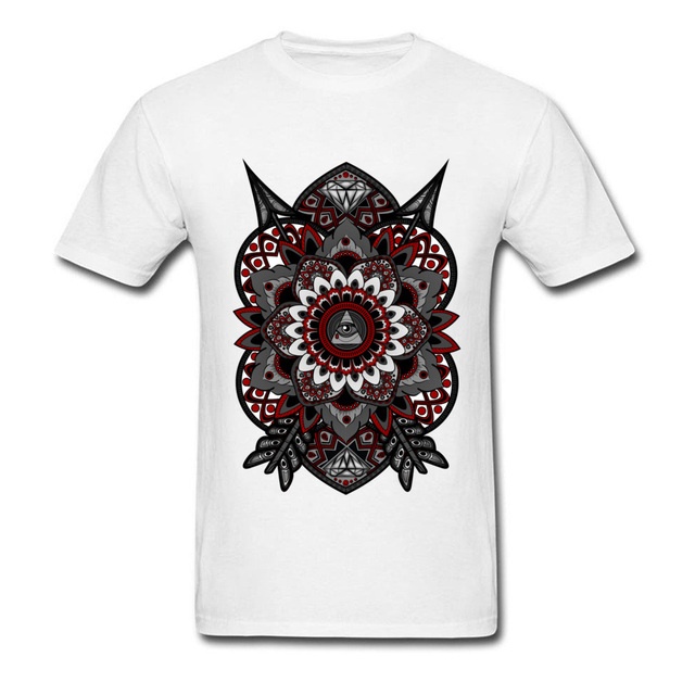 4c19c9fa Gift T Shirts For Student Corrupted Flower Of Life Classical Art Animal Owl  T-Shirt 100% Organic Cotton Small Size S/XXL White