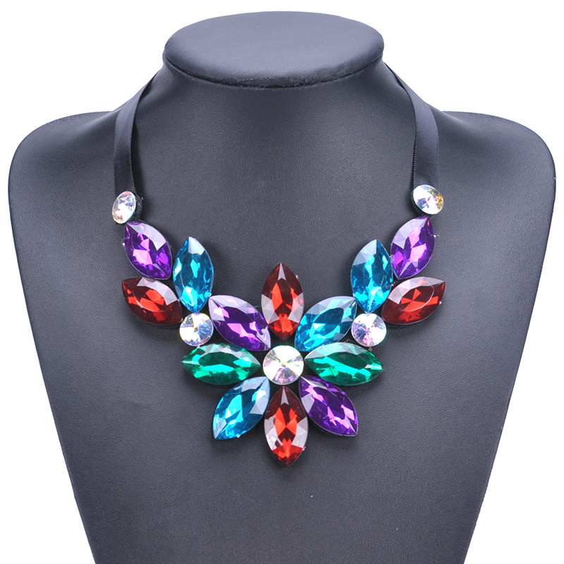 Glass Colorful Choker Necklace Crystal Flower Necklaces Fashion Choker Neclaces for Wome ...