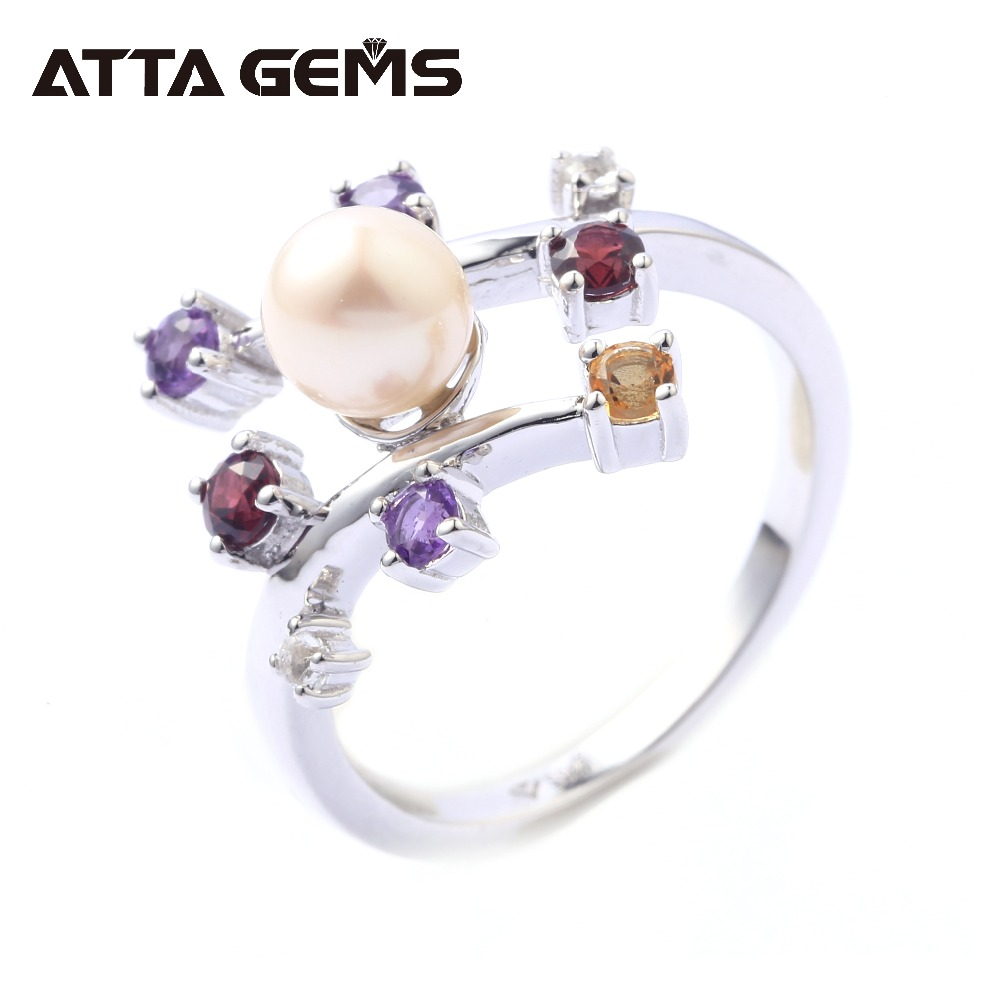 Natural Amethyst Crystal Garnet Sterling Silver Pearl Ring for Women Fine Jewerly Brand Wedding Birthday Party Wife Mother GiftNatural Amethyst Crystal Garnet Sterling Silver Pearl Ring for Women Fine Jewerly Brand Wedding Birthday Party Wife Mother Gift