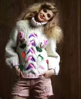 Уникальный Для женщин Водолазка Мода Рождественский свитер, милый пуловер Свитера для Женская мода тенденции, теплые зимние Sueter mujer