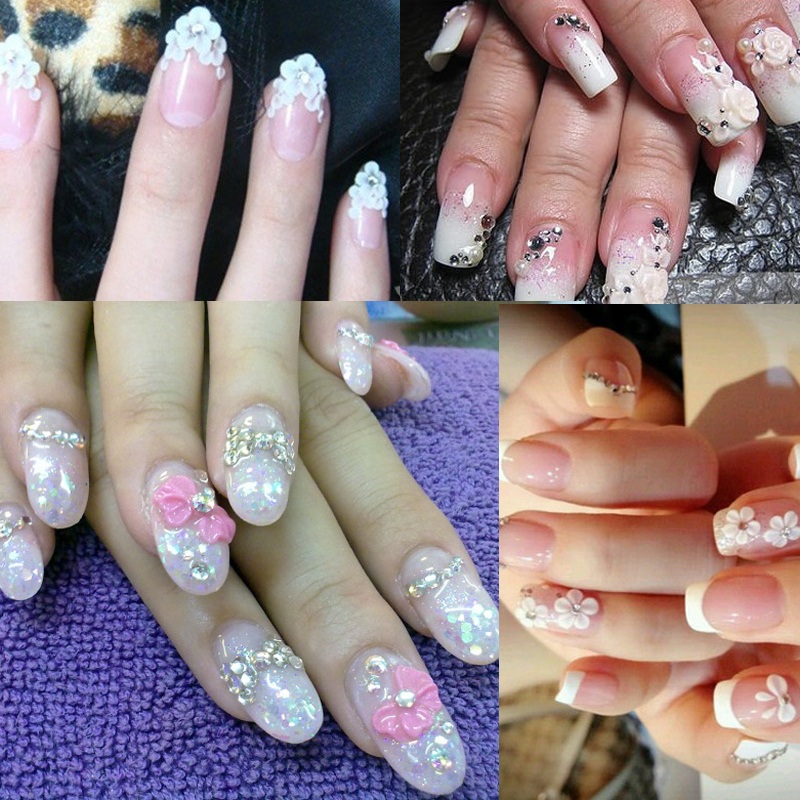 1pcs Clear Pink White Acrylic Powder Crystal Extended Nails Manicure ...