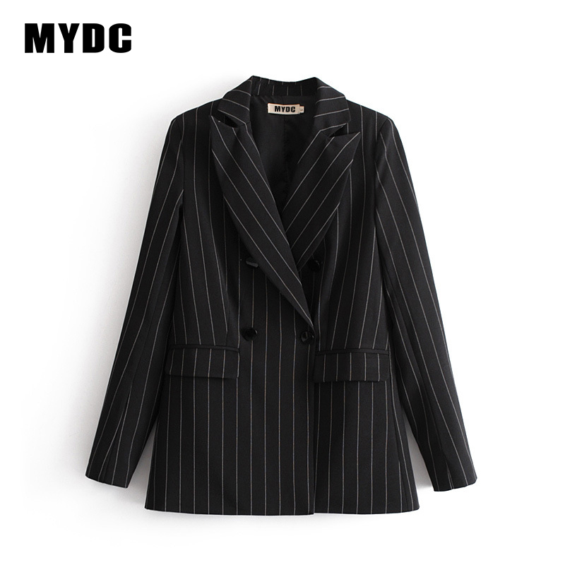 MYDC spring Women striped Blazer Jackets Notched Office Work double breasted Blazer Outfits 2018 new casual Coats