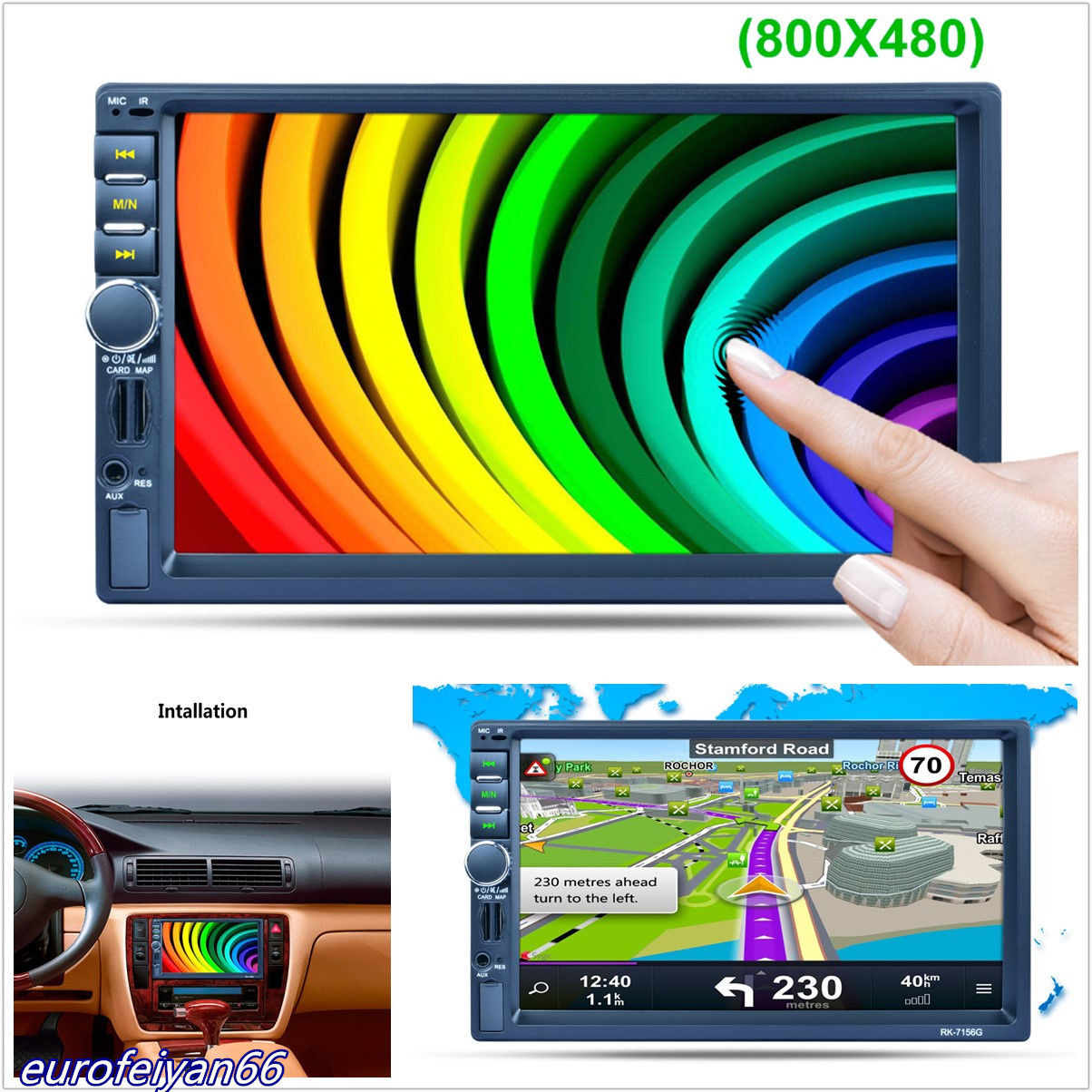 7 Touch Screen Bluetooth MP5 Player GPS RDS Mirror Link with 8GB Europe Map