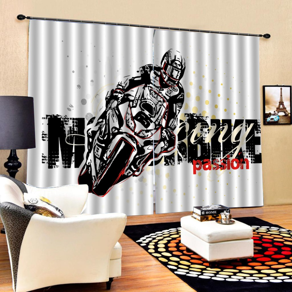 Роскошная затемненная 3D оконная занавеска s для гостиной спальни Индивидуальный размер затемненная занавеска мотоцикл