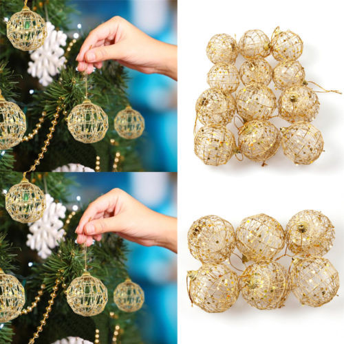 6cm/5cm Sequin Christmas Tree Decor Ball Bauble Hanging Home Party Ornament 6pcs