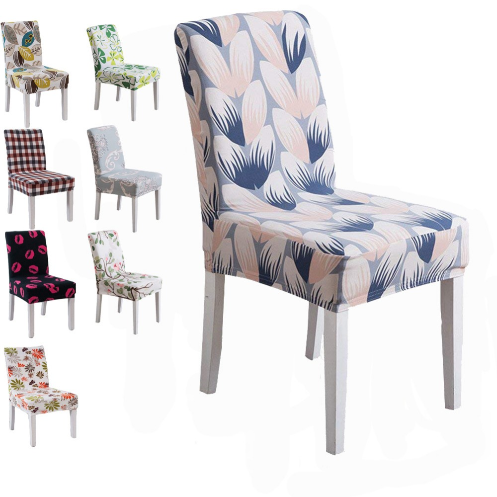 Amduine Chair Cover Spandex Fit Stretch Short Dining Room Chair Covers with Printed Pattern Banquet Chair Protector Slipcover