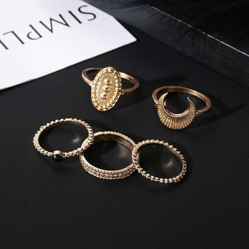 5 шт./компл. винтажные кольца в стиле «Бохо» Для женщин стимпанк Луна шаблон камень для суставов пальцев соединительные кольца набор подарок