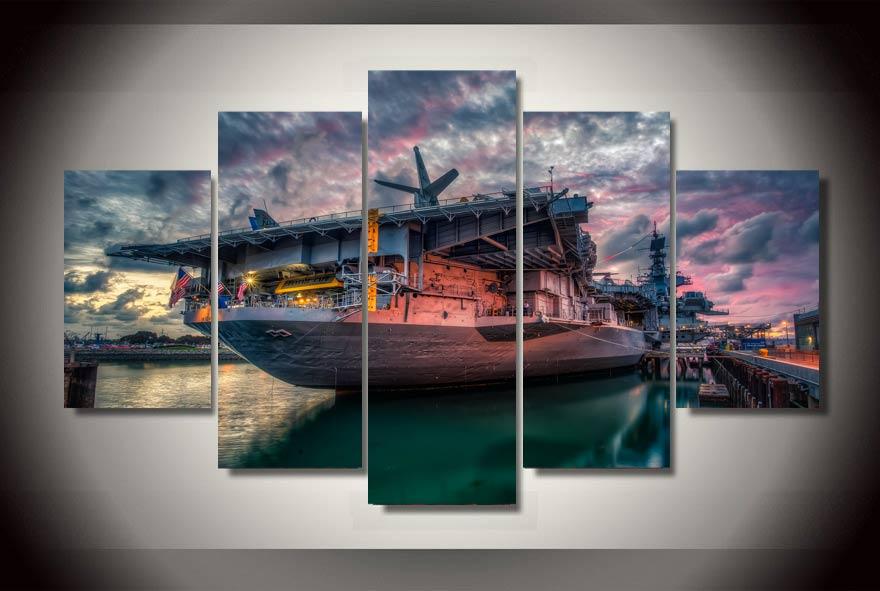 Хорошо продается с Сан-Диего Bay USS Midway живопись на холсте номер Украшение печати плакат картина стеновые панели Гостиная