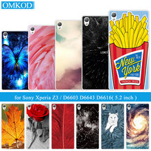 for Sony Xperia Z3 Silicone Plumage Back Cover for Sony D6603 D6643 D6653 D6616 L55T Ultrathin Soft TPU for Sony Z3 Phone Cases(China)