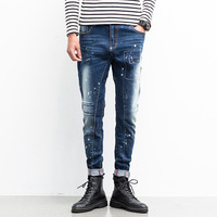 Luxury Men Jeans Overalls Ripped Mens With Zipper Knees Locomotives Plaid Punk Pants White Red Short