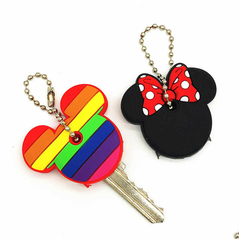 2Pcs/set Cute Cartoon Mickey Minnie Silicone Keychain For Women/Man Key Cover Key Caps Key Ring Key Holder Kids Gift Key chains
