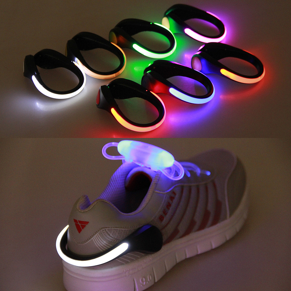 Wholesale 100pcs lot Outdoor Safety Shoe Clip night Running Walking Bike Cycling Bicycle LED Sport Light