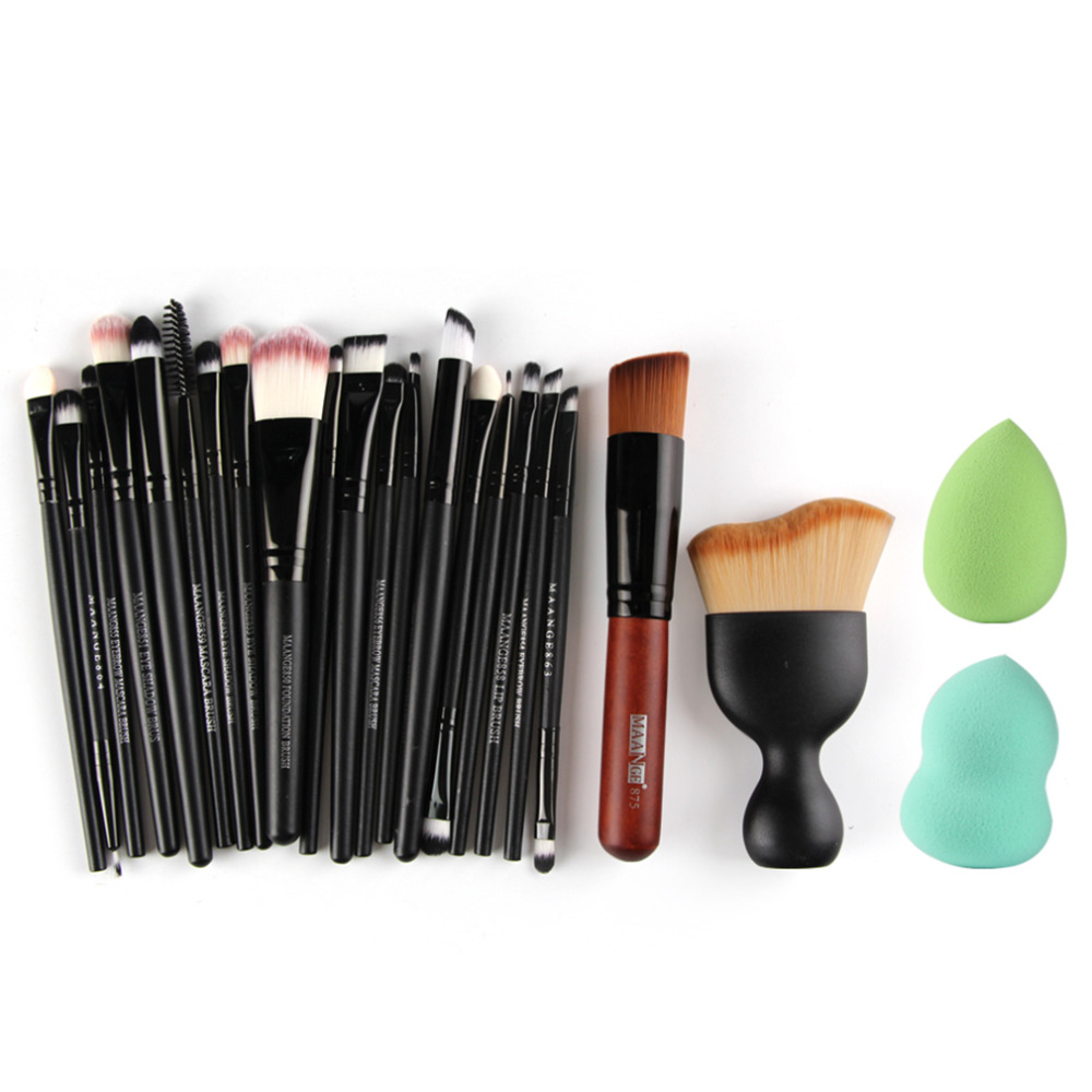 Professional 22 Pcs Cosmetic Makeup Brushes Powder Foundation Eyebrow Lip Brushes Kit Beauty Tool With Two Powder Puff Sponge bob cosmetic makeup powder w puff mirror ivory white 02