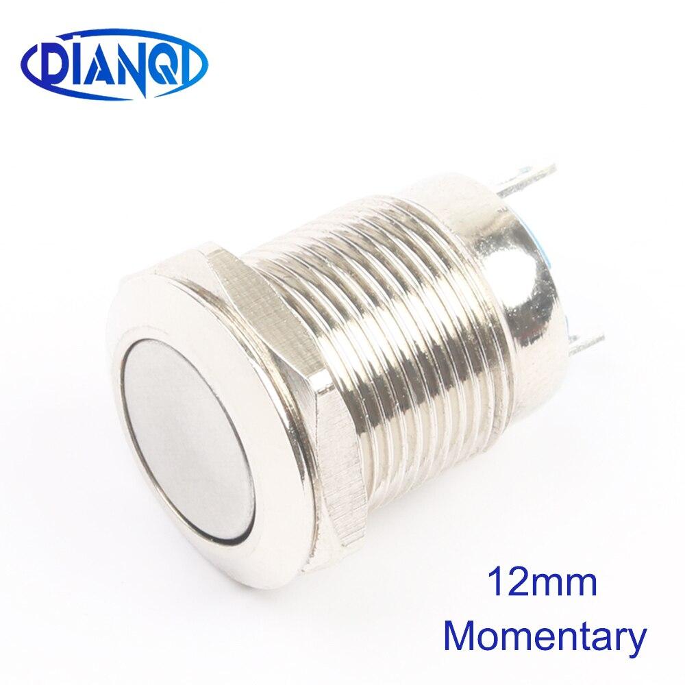12mm Flat Metal Push Botton Waterproof Brass Push Button Switch 1NO Momentary Automatic Reset  Latching Locking 2pin