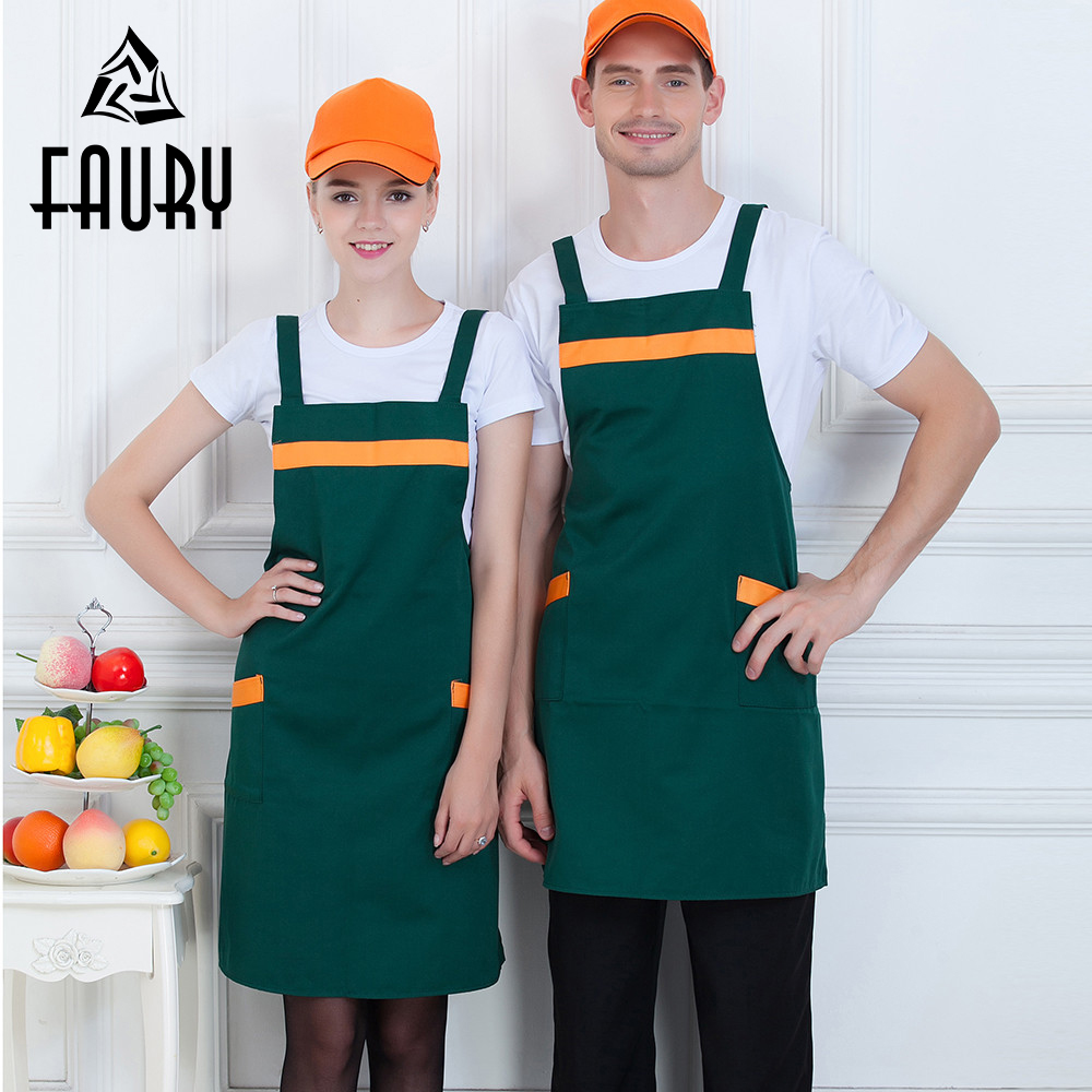 Unisex Thin Thick Style Work Apron Restaurant Two Pockets Strap Hotel Cafe Bakery BBQ Waiter Chef Kitchen Cooking Uniform Aprons