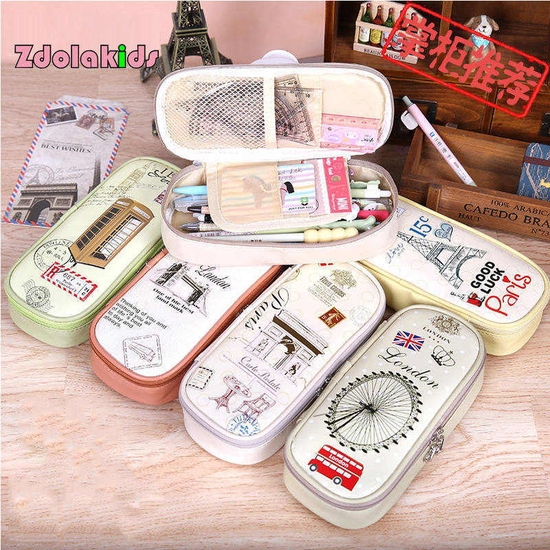 The 6 World representative landmarks Pencil Case Large Capacity Pencil  Bag PU Leather School Case Stationery School Supplies wood