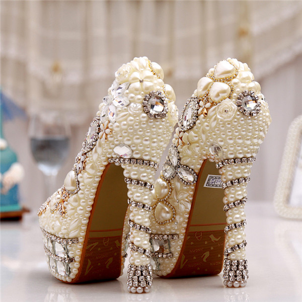 Woman Platform Wedges White Ivory Pearl Crystal Rhinestone Wedding Bridal Shoes High Heels Pumps