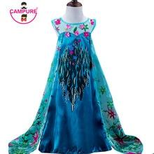 2017 Summer Girls Clothes Princess Baby Kids Dress Flowers Long Elsa Cosplay Costume Children Clothing Snow Queen Dresses Girl