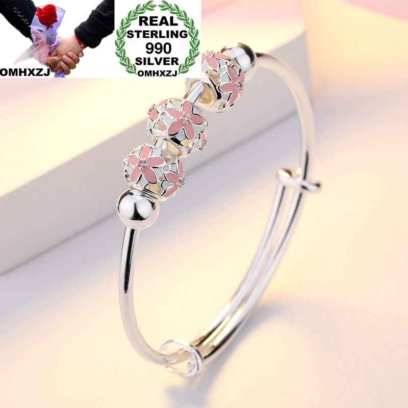 OMHXZJ Wholesale European Fashion Woman Girl Party Wedding Gift Flower Beads Resizable 925 Sterling Silver Cuff Bangle BA13