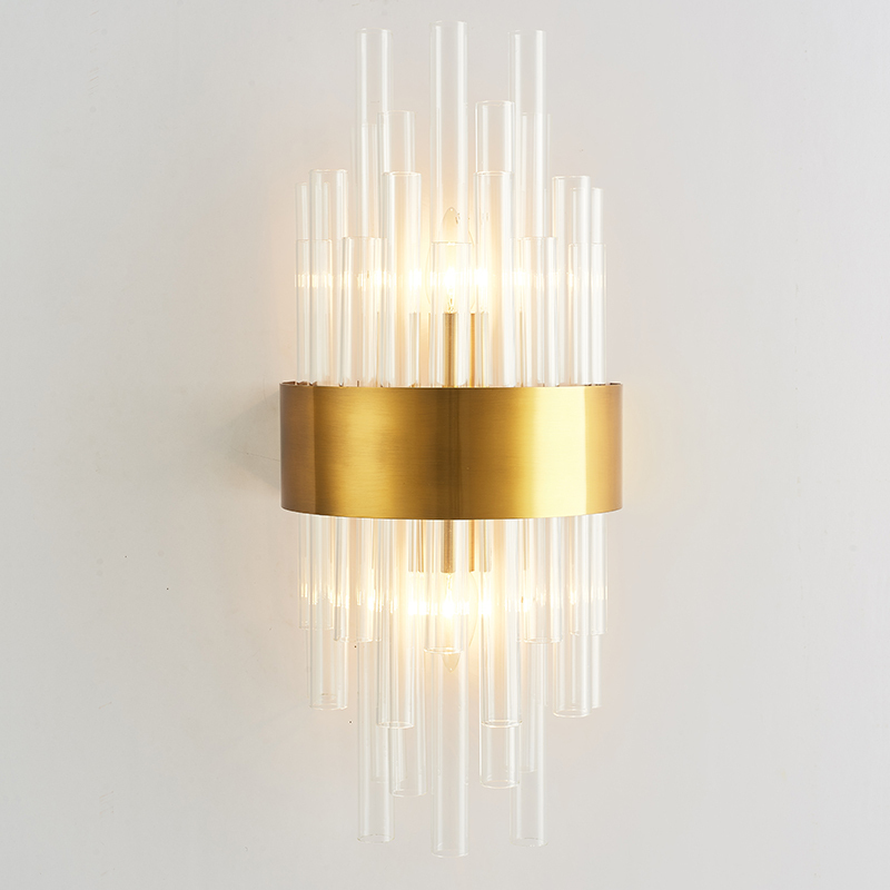 Decorative Plated Gold Glass Wall Lamp Bedroom Foyer Restaurant Shop Clear Glass Wall Sconces Glass Tube Wall Light|Wall Lamps| |  - title=
