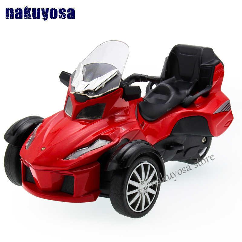 Bombardier invertito modello di moto triciclo 1:36 in lega auto giocattolo acusto-ottica tirare indietro giocattolo del capretto di giorno dei bambini di compleanno regalo